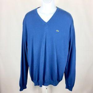 Lacoste Sweater Lightweight V-Neck Size 7 XL Blue